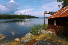 Sonniger schöner Tag auf dem See Stockfotografie