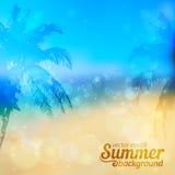 Sonniger Sommervektorhintergrund mit Palmen Stockfoto