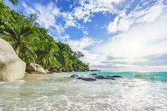 Sonniger Tag auf Paradiesstrand anse Georgette, praslin Seychellen 49 Stockfoto