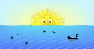 Sonniger Tag in dem Meer (AI-Format vorhanden) Lizenzfreie Stockfotografie