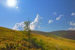 Sonniger Tag in den Bergen Wolken der ungewöhnlichen Form Stockfoto