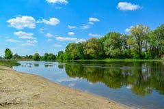 Sonniger Tag des Frühlinges auf der Flussbank Stockbilder