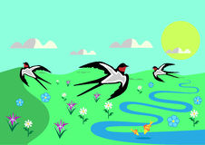 Sonniger Tag des Frühlinges mit Blumen und Schwalben vektor abbildung