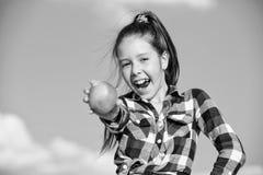 Sonniger Tag des reifen Apfels des Kindergriffs Kinderm?dchen mit dem langen Haar essen Hintergrund des blauen Himmels des Apfels lizenzfreie stockbilder