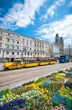 Sonniger Tag mit schöner Aussicht in der alten Stadt von Linz, Österreich Stockfotos