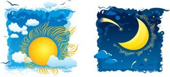 Sonniger Tag und moonlit Nacht Stockbilder