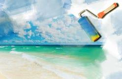 Sonniger tropischer Strand auf der Insel Stockfoto