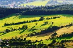 Sonniges Gebirgstal mit Grünfeldern und -wiesen Szenische Ackerlandlandschaftsvogelperspektive Lizenzfreies Stockbild