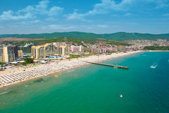 Sonniges Strandurlaubsort in Bulgarien Stockfotos