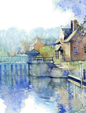 Sonning Lock. Watercolour illustration in traditional style of Sonning Lock in Berkshire, England Royalty Free Stock Images