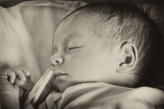 Sonno appena nato della neonata Immagini Stock Libere da Diritti