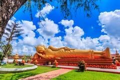 Sonno Buddha in tempio Vientiane, Laos, sono pubblico dominio Fotografia Stock