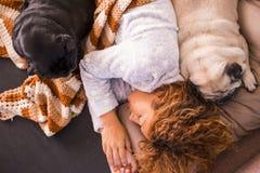 Sonno caucasico piacevole di signora sul sofà con i suoi due cani dei carlini che la proteggono Fotografia Stock Libera da Diritti