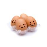 Sonno con le uova marroni di felicità Fotografia Stock Libera da Diritti