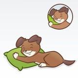 Sonno del cucciolo del cane del fumetto Fotografie Stock