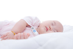 Sonno del neonato del primo piano Fotografie Stock Libere da Diritti