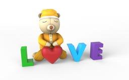 Sonno della bambola dell'orsacchiotto Immagini Stock Libere da Diritti