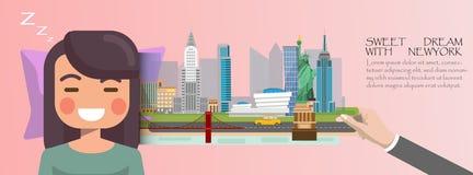 Sonno della donna Sogno dolce con il concetto 2018 di New York Infograp dell'America Immagine Stock Libera da Diritti