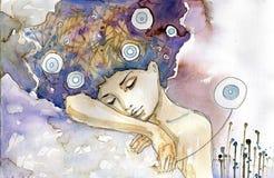 Sonno della ragazza royalty illustrazione gratis