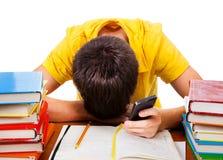 Sonno dello studente sui libri Fotografia Stock Libera da Diritti