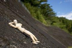 Sonno di legno della bambola Fotografia Stock