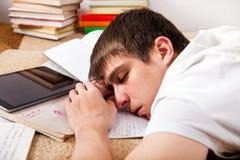 Sonno faticoso dell'allievo Fotografie Stock Libere da Diritti
