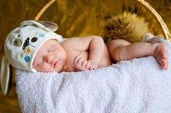Sonno neonato con una coda lanuginosa nel cappello fotografia stock libera da diritti