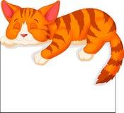 Sonno sveglio del fumetto del gatto Immagini Stock