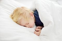 Sonno sveglio del ragazzino Bambino stanco che prende un pelo nel letto del ` s del genitore Fotografie Stock Libere da Diritti