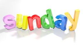 Sonntag buntes 3D schreiben - Wiedergabe 3D Stockfoto