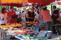 Sonntag Morgen Markt auf dem Saone stockfotos