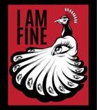 Sono benissimo Vector il manifesto con l'illustrazione disegnata a mano del pavone con gli occhi umani isolati royalty illustrazione gratis