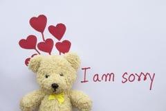 Sono carta spiacente del messaggio con il cuore rosso di tiraggio fotografia stock