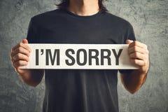 Sono messaggio spiacente Fotografia Stock