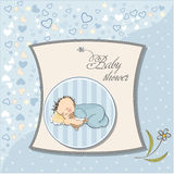 Sono pequeno do bebé com seu urso de peluche Imagem de Stock