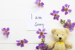 Sono scrittura spiacente della carta del messaggio con l'orsacchiotto fotografia stock libera da diritti