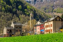 Sonogno village of stone houses. SONOGNO, SWITZERLAND - 21 APRIL 2018 - Sonogno village with plenty of stone houses and typical alleys, located in Valle Verzasca Royalty Free Stock Images
