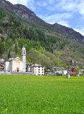 Sonogno,Verzasca Valley,Switzerland. The Village of Sonogno in Verzasca Valley,Ticino Canton,Switzerland stock photo