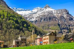 Sonogno village of stone houses. SONOGNO, SWITZERLAND - 21 APRIL 2018 - Sonogno village with plenty of stone houses and typical alleys, located in Valle Verzasca Stock Image