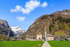 Sonogno village in Switzerland. Beautiful nature view at Sonogno village among high mountains in Valle Verzasca in Locarno, Switzerland stock images