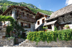Sonogo in Ticino. Mountain village Sonogno in Verzasca-Valley in Ticino, Switzerland Stock Image