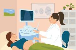 Sonografía de la mujer embarazada en hospital libre illustration