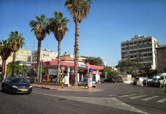 Sonol petrol station in Israel. Rishon Le Zion, Israel - April 7, 2015: Sonol gas station in the city center. It is located at Eyn Hakore and Herzel street Stock Photo