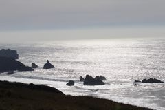 Sonoma Coast State Park -  northwestern Sonoma County, California. Is the mouth of the Russian River, and the southern end of this crescent shaped expanse is Royalty Free Stock Photo