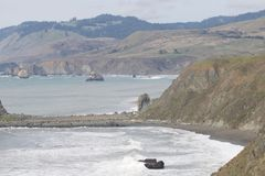 Sonoma Coast State Park - northwestern Sonoma County, California. Is the mouth of the Russian River, and the southern end of this crescent shaped expanse is royalty free stock photos