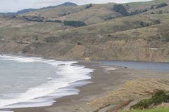 Sonoma Coast State Park - northwestern Sonoma County, California. Is the mouth of the Russian River, and the southern end of this crescent shaped expanse is royalty free stock images