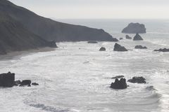 Sonoma Coast State Park - northwestern Sonoma County, California. Is the mouth of the Russian River, and the southern end of this crescent shaped expanse is royalty free stock image