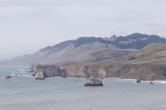 Sonoma Coast State Park -  northwestern Sonoma County, California. Is the mouth of the Russian River, and the southern end of this crescent shaped expanse is Stock Photo