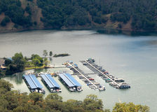 Sonoma Lake Marina. Overhead view of the boat marina on Sonoma Lake, Sonoma County, California Royalty Free Stock Photography