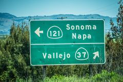 Sonoma napa highway direction sign Stock Photos